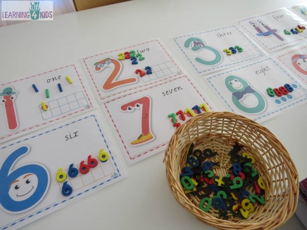 Printable Number Mats for Number Sorting Activity