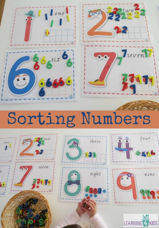 Sorting Numbers using printable numbers cards with tens frames.  These number characters are too cute!