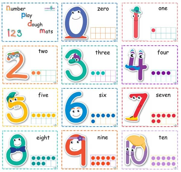 Standard Print Number Play dough Mats