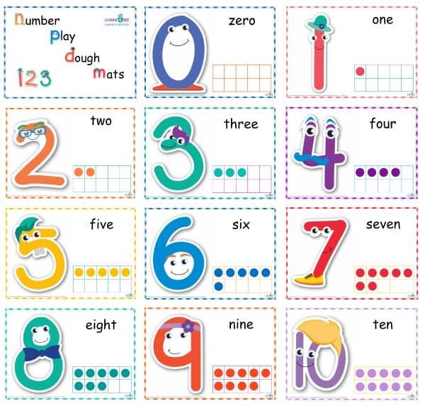 Standard Print Number Play dough Mats
