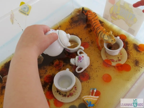 The tiger who came for tea - letter t sensory tub activity