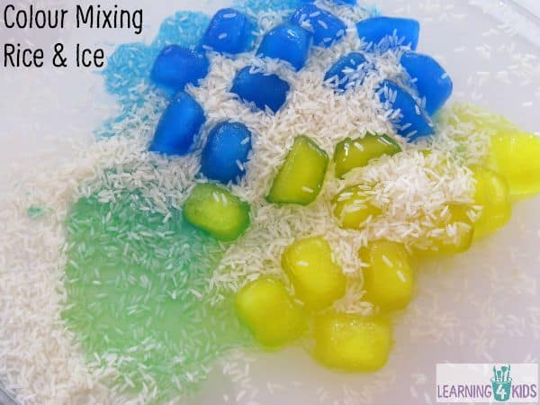 Colour Mixing with Rice and Ice - great activity to demonstrate mixing primary colours