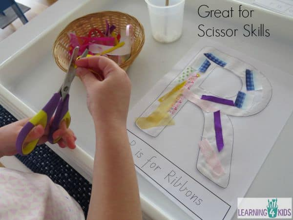 Great for scissor skills cutting up ribbons for letter r activity