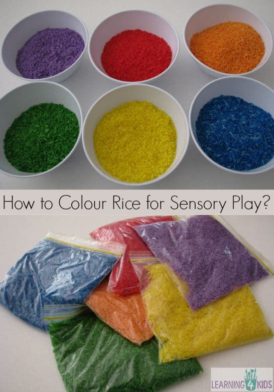 How To Colour Rice For Sensory Play Learning 4 Kids