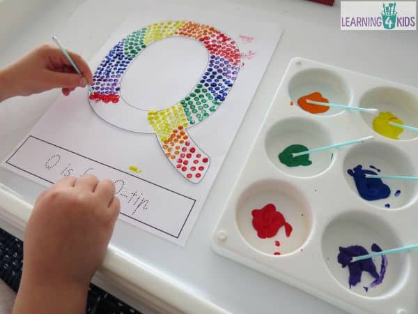 Letter Q Activity - Q is for q-tips with free printable