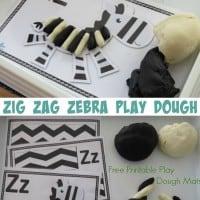 Letter Z Activity - zig zag zebra play dough fun with 3 free printable play dough mats