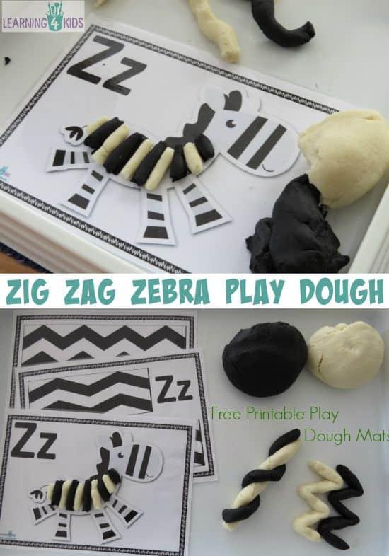 Zig Zag Zebra Play Dough   Learning 4 Kids