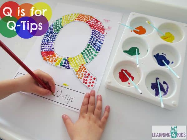 Q is for Q-Tips Letter Q Activity with free printable