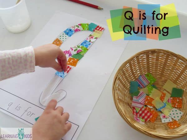 Letter q crafts for preschool or kindergarten fun easy and q is for quilt learning 4 kids spiritdancerdesigns Gallery