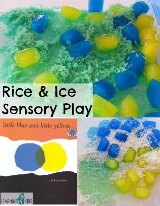 Rice and Ice Sensory Play -learn about rhyming words, absorption and colour mixing.