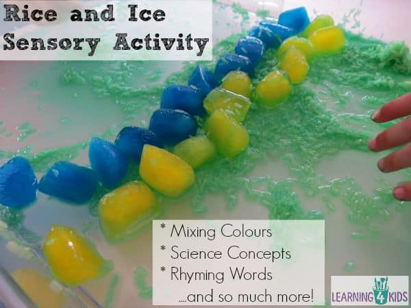 Rice and ice sensory activity - mixing colours, rhyming words and science concepts!