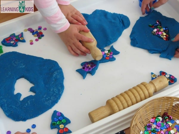 The Rainbow Fish by Marcus Pfister inspired play dough activity