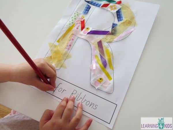 Writing activity - letter R and ribbons
