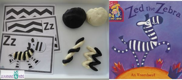 Zed is for Zebra - zig zag zebra play dough activity learning the letter z