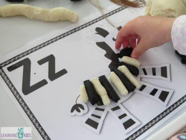 Zig Zag Zebra - letter z activity using play dough