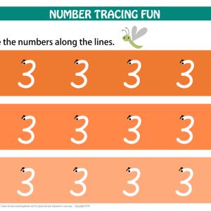 Printable Number Tracing Mat Number 3