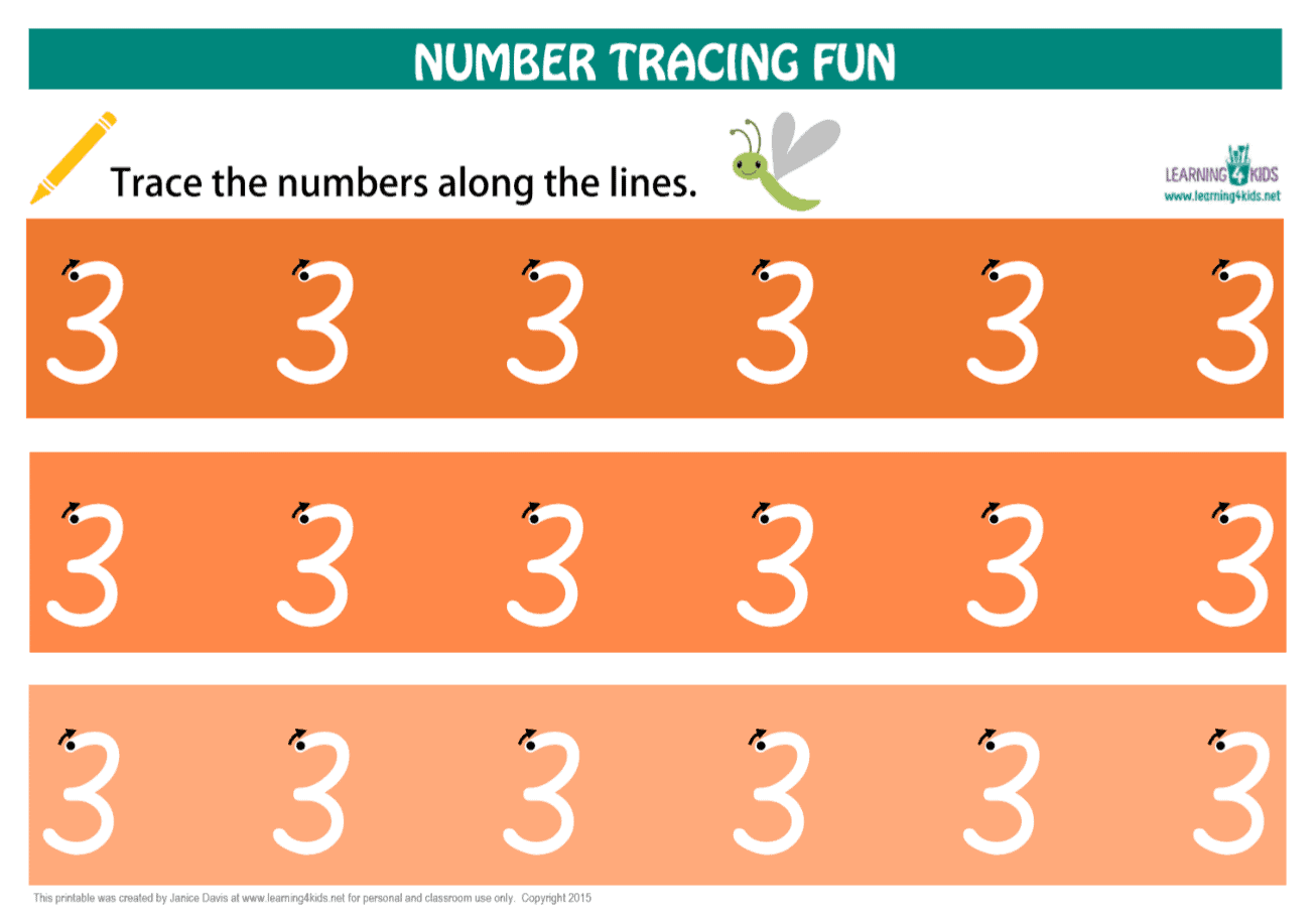 Printable Number Tracing Mat Number 3