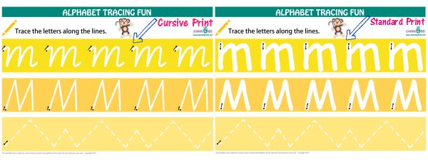 Alphabet Letters Tracing Mats in cursive and standard print