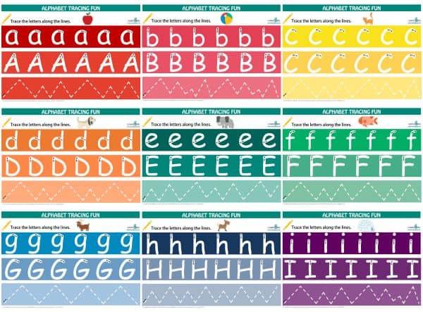 Alphabet Tracing Mats a to i