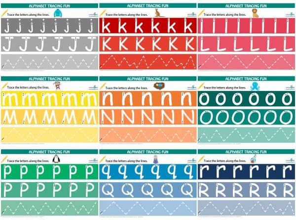 Alphabet Tracing Mats j to r