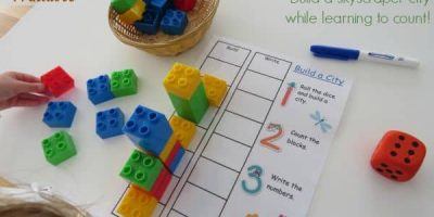 Build a City Counting Game - build a skyscraper city while learning to count with free printable