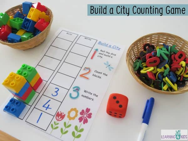 Build A City Counting And Subitising Game on Subitising Printable Dice Game