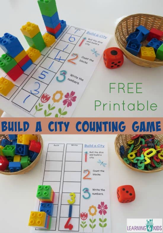 Build a City Counting and Subitising Game with FREE printable
