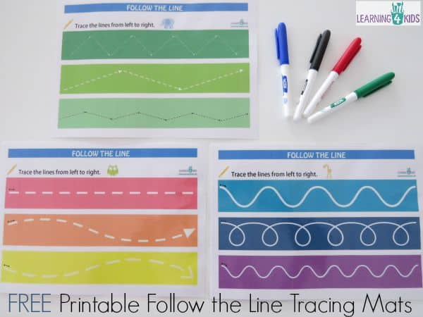 Free Printable Follw the Line Tracing Mats