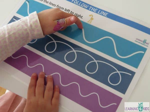 Free printable Follow the line tracing mats