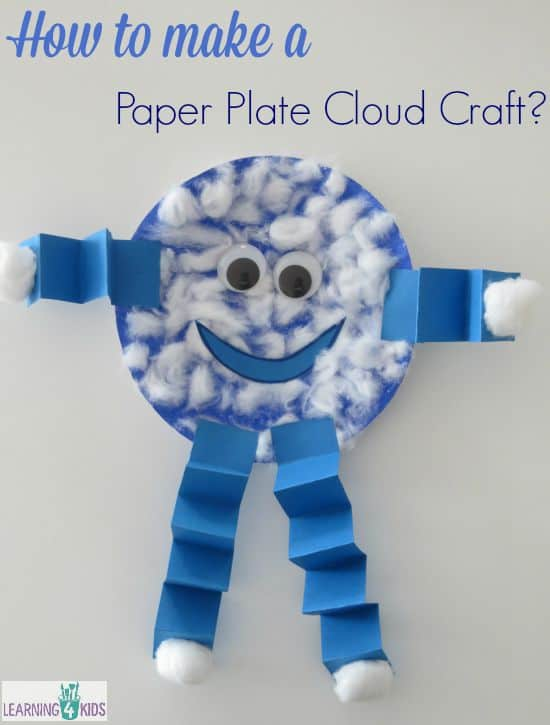 Paper plate cloud craft learning 4 kids for How to make a paper cloud