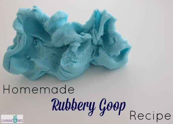 How to make homemade rubbery goop recipe for sensory play opportunities