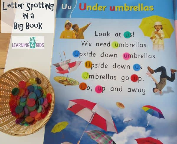 Letter Spotting in a Big Book using transparent counters - great for reading activities