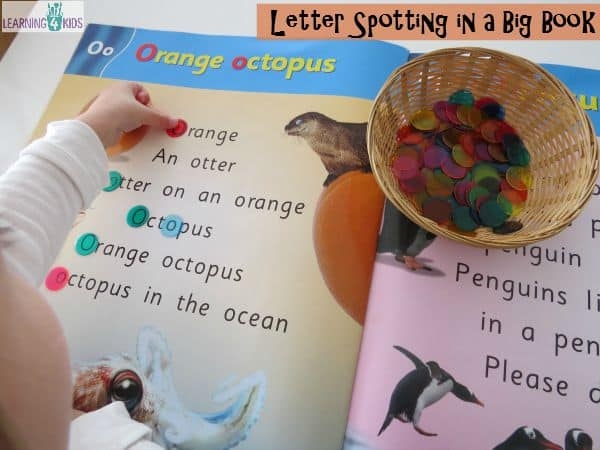 Letter Spotting in a big book - super fun reading activities for kids