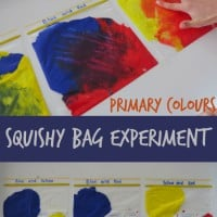 Mixing Primary colours squishy bag experiment - follow on activity from the book Little Yellow and Little Blue