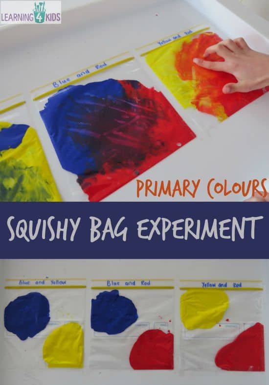 mixing primary colours squishy bag experiment follow on activity from the book little yellow and - Color Activity