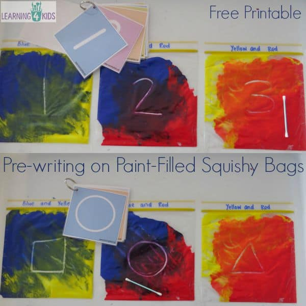 Pre-writing on paint filled squishy bags with free printable.