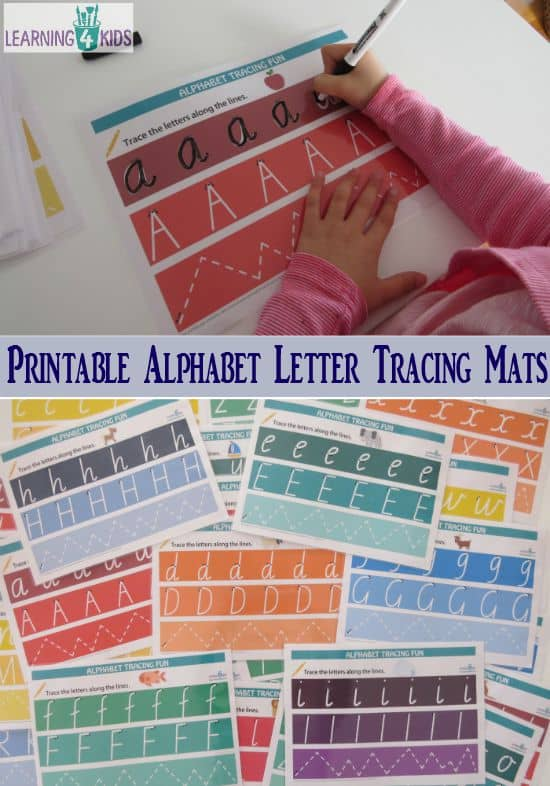 Printable Alphabet Letter Tracing Mats avalable in two fonts - fun rainbow theme and matching pictures