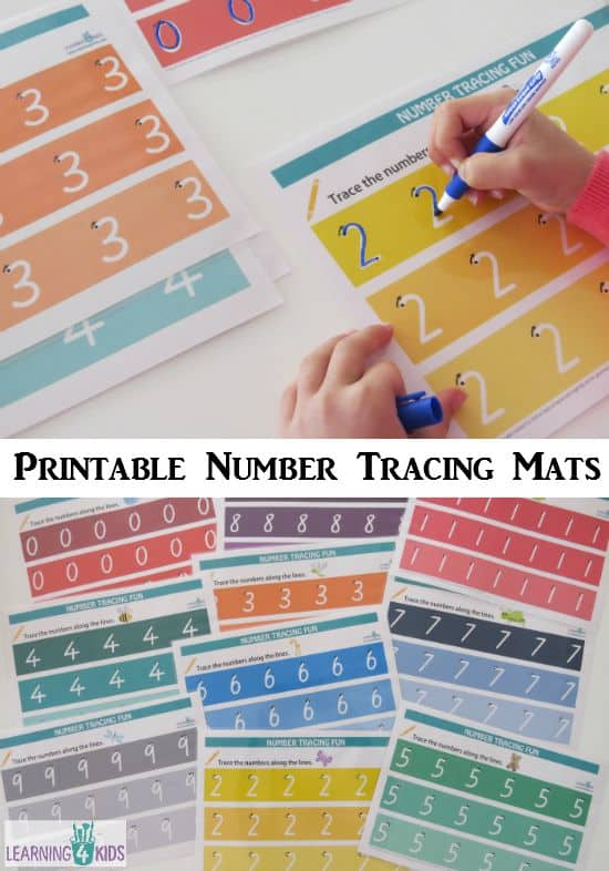 Printable Number Tracing Mats wih dots and arrows for guidance - Fun Rainbow Theme