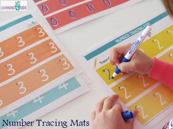 Printable Number Tracing Mats with dots and arrow for guidance
