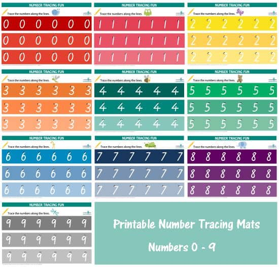 Printable Number Tracing Sheets - Rainbow Theme - Numbers 0 - 9