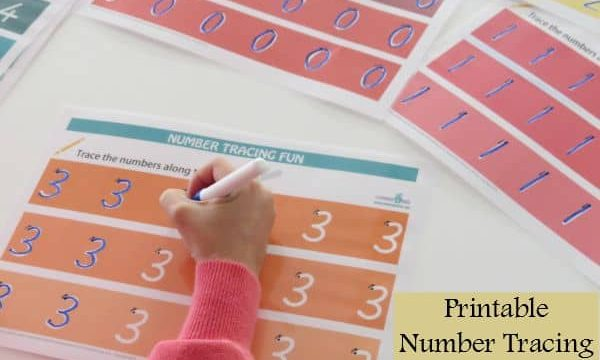 Printable number tracing mats