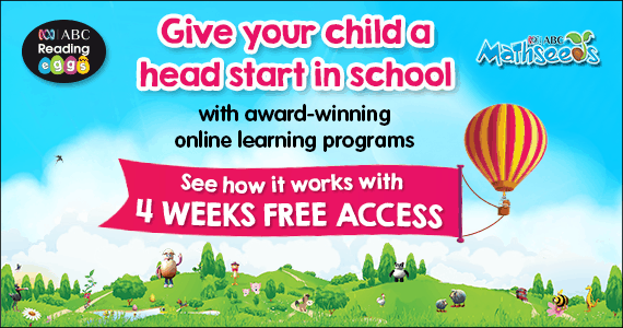Give your child a head start with ABC REading Eggs and Mathseeds 4 weeks FREE access