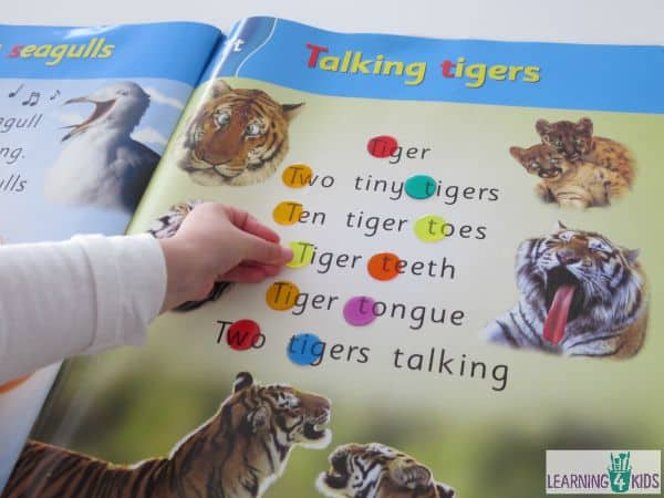 Spotting letters, blends and sight words in big books with transparent counters