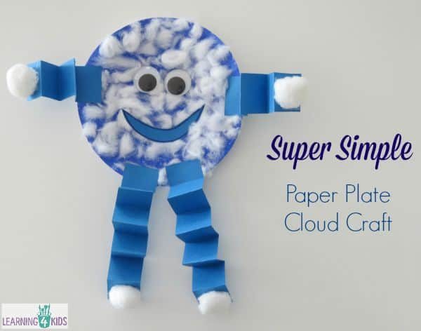 Super Simple Paper Plate Cloud Craft - an activity inspired by the book Litle Cloud by Eric Carle
