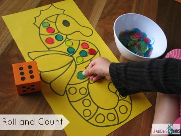 roll and count activity for kids