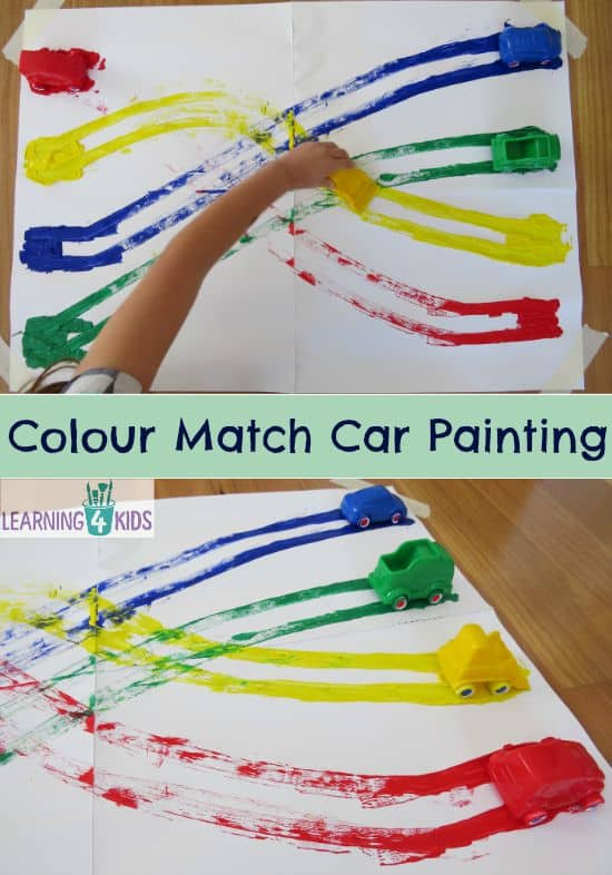 colour match car painting learning colours - Colour Activities For Toddlers