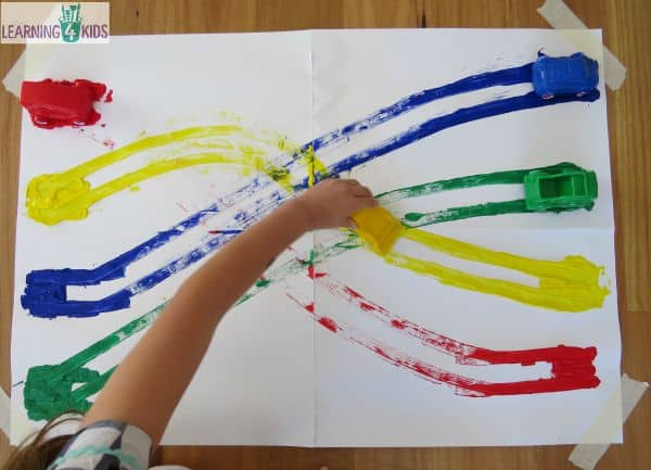 Colour matching activity with paint