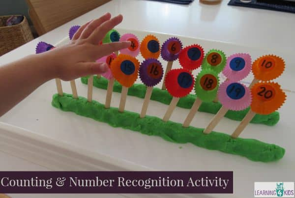 Create a Numbe Line 1 to 20 Activity with Play Dough - great for number awareness skills.