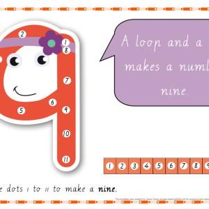 Dot-to-dot Number rhyme chart cursive print - number 9