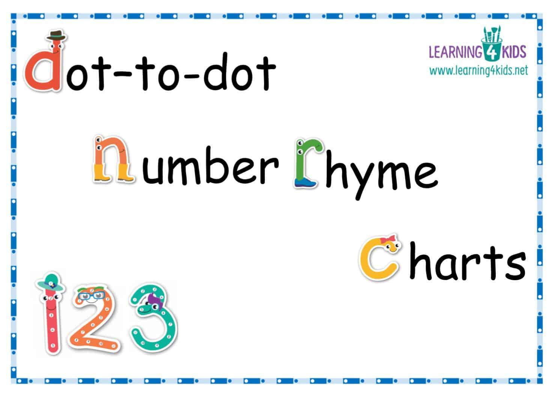 Dot-to-Dot Number Rhyme Charts (Cursive Print)
